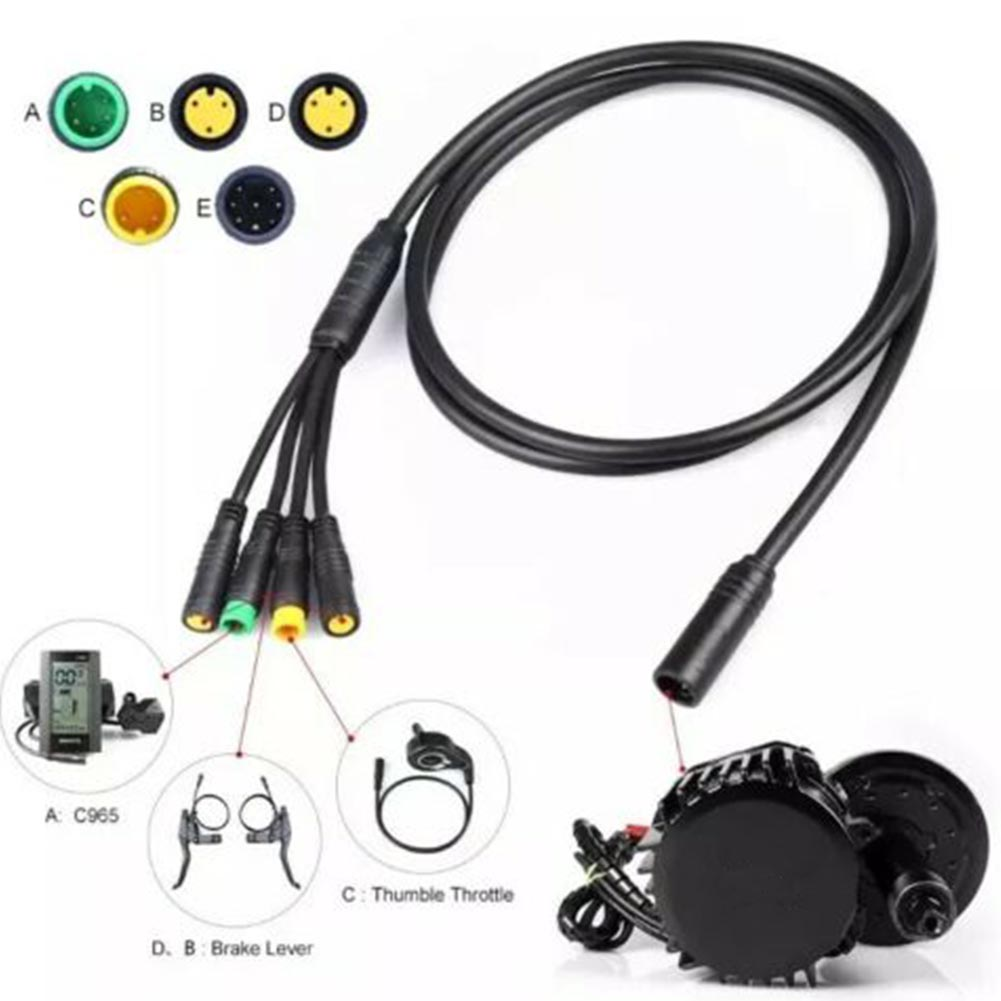 Black Waterproof Wiring Harness Mid Drive Motor Cable Bike Replacement Stable Insulation Accessories For Bafang 1T4