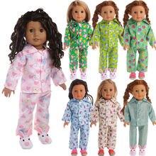 В горошек с рисунками животных кукла в пижаме одежда для 18