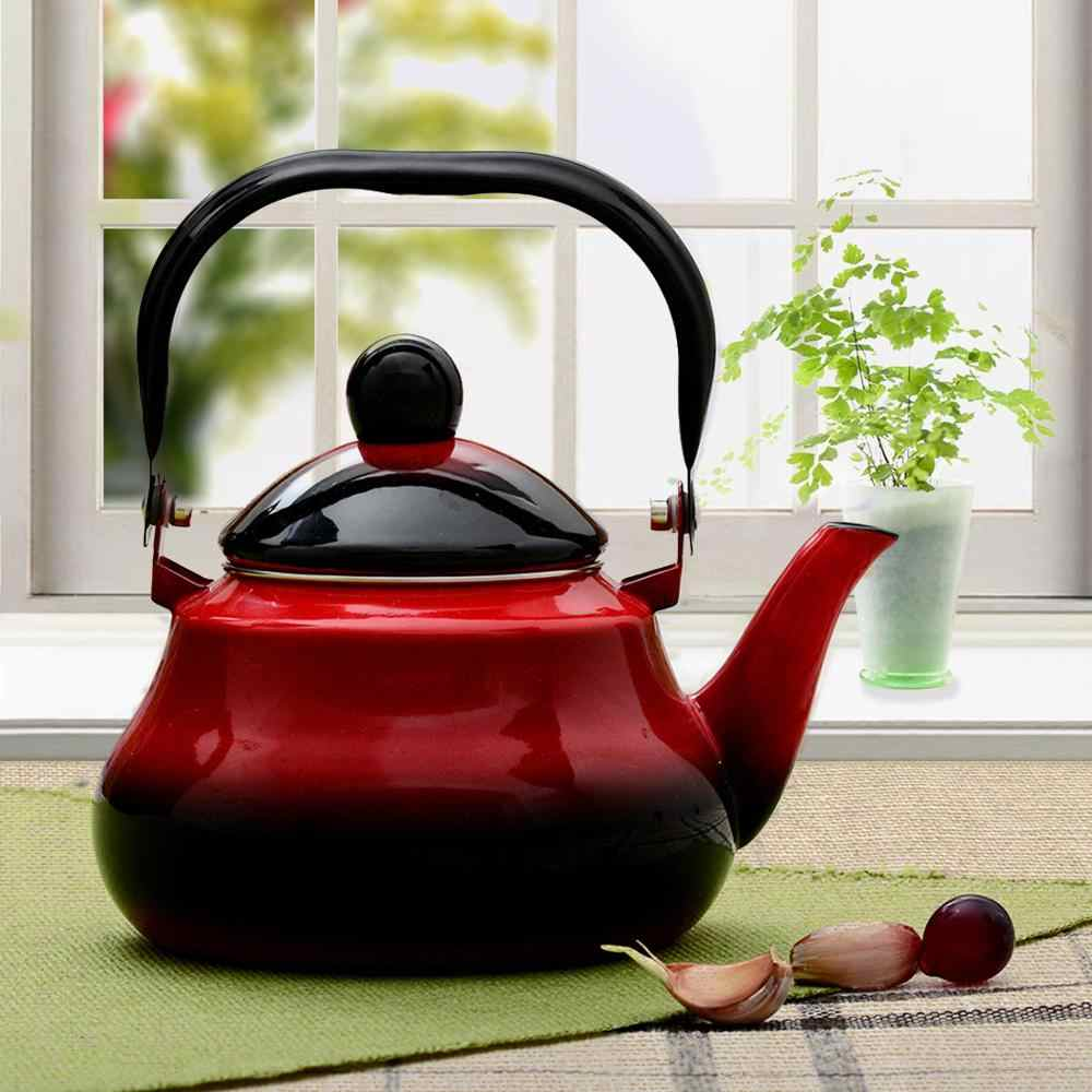 1.5L enamel Pear shaped pot Stainless Steel Handle Portable Enamel Tea Pot For Induction Cooker red black and Urban wind