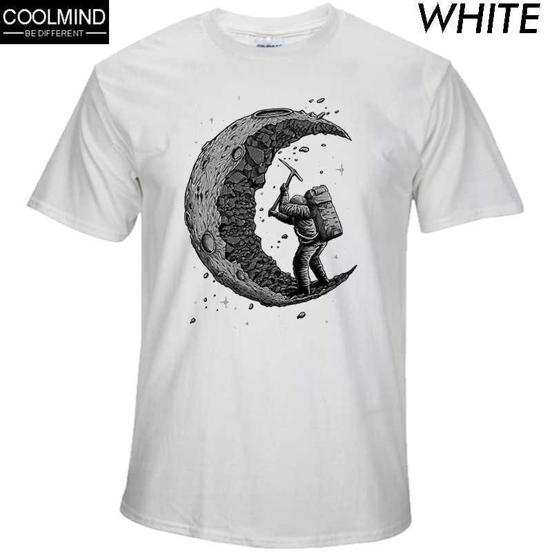 ผ้าฝ้าย 100% ขุดดวงจันทร์พิมพ์Funny Mens O-Neckเสื้อTแฟชั่นเสื้อผู้ชายผู้ชายเสื้อยืดผู้ชายTshirtชายผู้ชายTeeเสื้อ