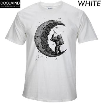 100 bawełna kopanie nadruk z księżycem śmieszne męskie o-neck t-shirty moda męska topy mężczyźni T-shirt fajne mężczyźni tshirt męskie koszulki męskie tanie i dobre opinie THE COOLMIND Krótki Tees short sleeve Suknem COTTON Na co dzień Drukuj