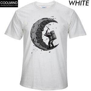 100% cotton digging the moon print funny mens o-neck t shirts fashion men's tops men T-shirt cool men tshirt male men tee shirts(China)