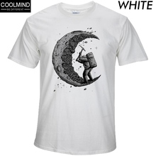 cotton digging the moon print funny men t shirt SF