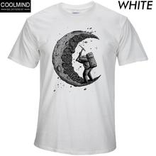 100% cotton digging the moon print funny mens o-neck t shirts fashion