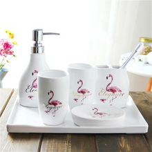 Design Bathroom set liquid soap dispenser Ceramic hand lotion Flamingo home gift 5pcs  dish bathroom decor