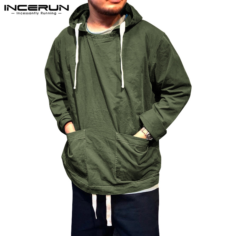 INCERUN Casual Mens Hooded Sweatshirts Long Sleeve Stylish Pockets 2020 Vintage Pullovers Solid Streetwear Cotton Mens Hoodies