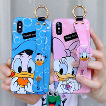JAMULAR Donald Daisy Duck Cases For iPhone 7 XR X XS MAX 8 6 6s Plus Cute Cartoon Wrist Strap Bracket Soft TPU Phone Cover Coque