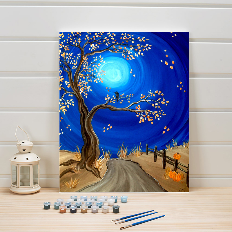 DIY Oil Painting By Numbers Rabbit Crane Hand Painted Canvas Modern Picture Home