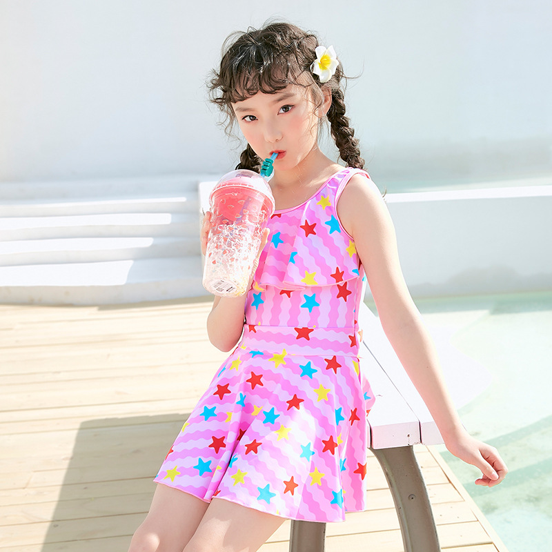 One-piece Swimsuit For Children High-waisted Big Boy Swimwear Flounced Hipster Skirt Girls Swimwear With Pad Chest
