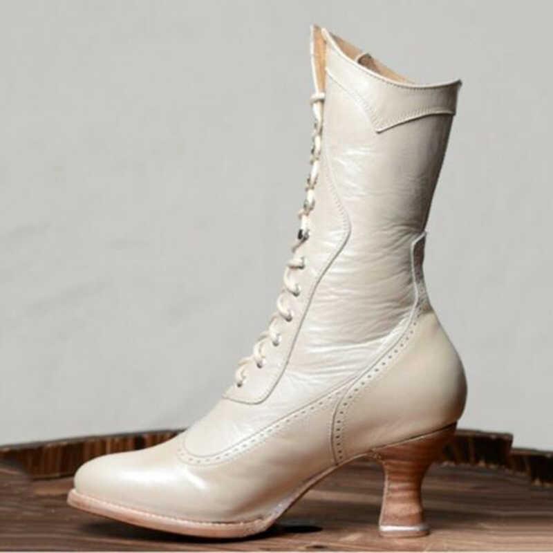 ผู้หญิงรอบ Toe Retro รองเท้า 2019 ผู้หญิงฤดูหนาว Kitten ส้นรองเท้าหนัง MID-CALF Lace ขึ้นรองเท้าหญิง SOLID กลางรองเท้าส้นสูงรองเท้า D40