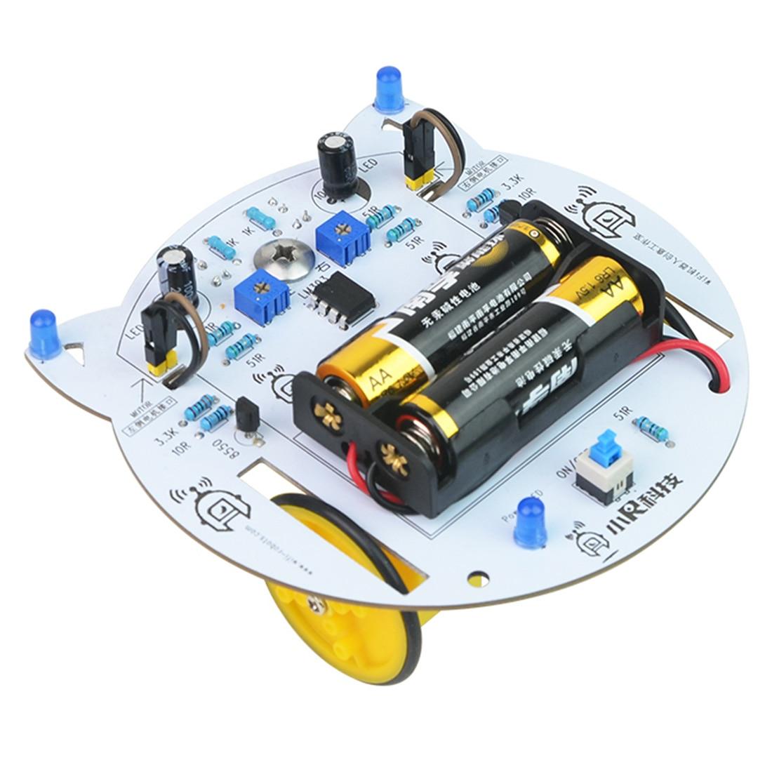 NFSTRIKE мини-Кот DIY умный радиоуправляемый робот-автомобиль отслеживающий паровой обучающий комплект программируемые игрушки для детей мальчиков-без батареи - Color: Light Grey