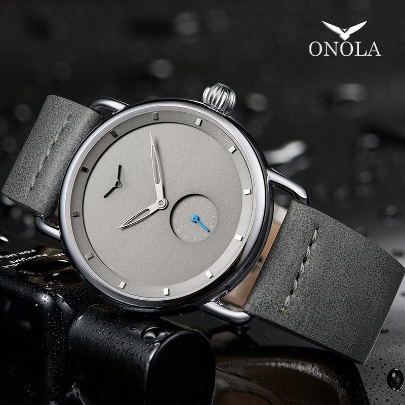 2019 ONOLA top brand leather men watches clock fashion sport simple casual waterproof Wrist watch men Innrech Market.com
