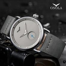 שעון מזדמן גברים מותג ONOLA קוורץ שעוני יד פשוט waterpoor עור גבר שעון יוקרה שעונים