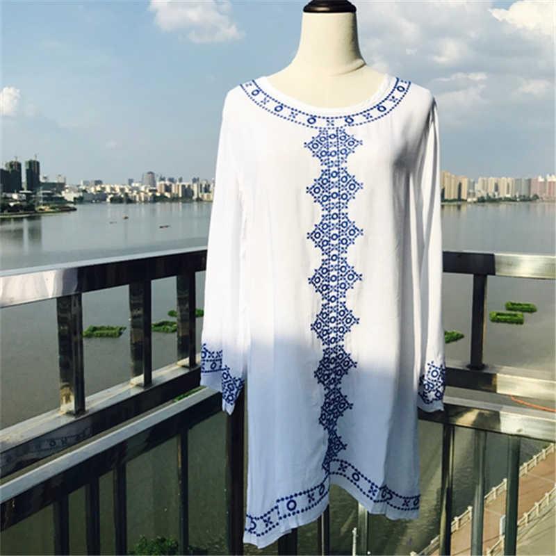 חדש כניסות חוף כיסוי למעלה רקמת זהורית בגדי ים גבירותיי טוניקות עבור חוף קפטן שמלת וחוף בגד ים כיסוי ups # q71