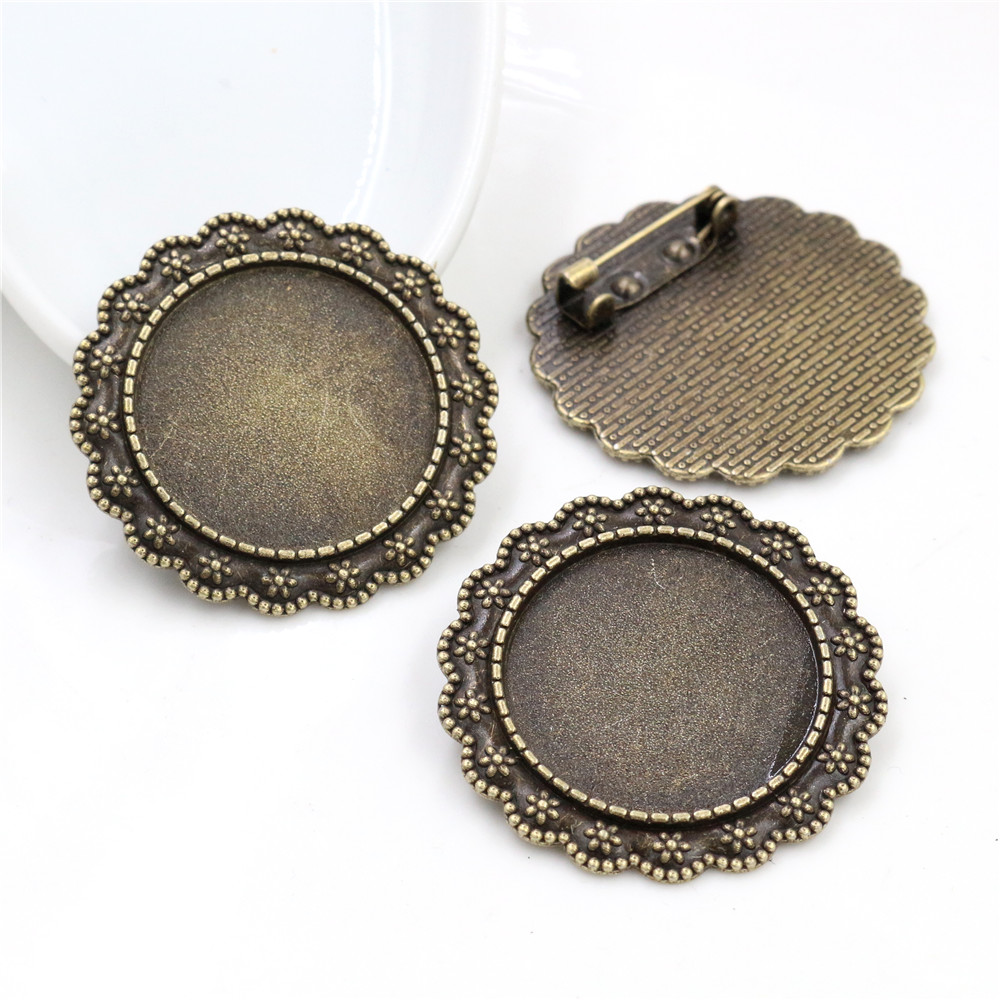 New Fashion  2pcs 25mm Inner Size Antique Bronze Brooch  Cameo Cabochon Base Setting Pendant (A6-02)