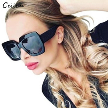 2020 Luxury Big Square Sunglasses Women Brand Designer Retro Clear Sun Glasses For Female Oversized Black Shades Oculos UV400 недорого