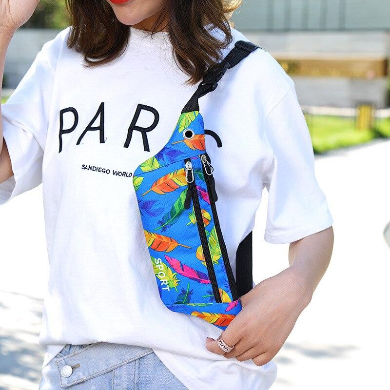 Women's Sports Fitness Waist Belt Earphones Jack Outdoor Sports Running Nylon Bag 2019 New Style Fashion Flower Type