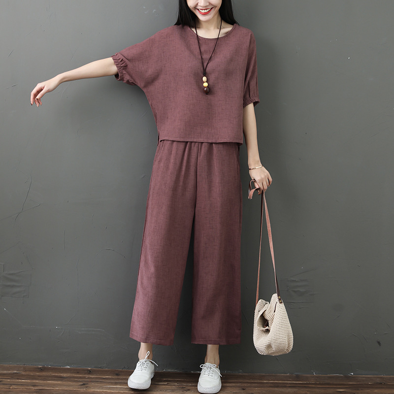2019 Summer New Style Retro Bamboo Joint Cotton Linen Set Short Sleeve Loose-Fit Tops With Capri Loose Pants Two-Piece Women's