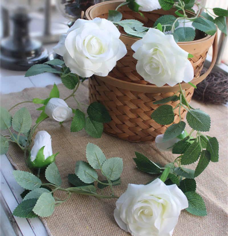 200 centimetri di Lusso Rosa Rattan con foglie Ghirlanda di fiori di seta Artificiale Edera Finta Appeso Vite di Nozze FAI DA TE decorazione Del Partito Corona