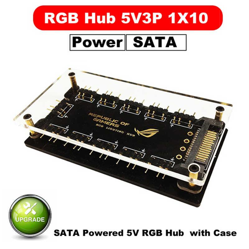 Dov 4pin rgb aura 5v 3 pinos argb rgbw, capa divisor de cabo hub com fita e extensão tira led adaptador para cabo, pc rgb ventilador cooler
