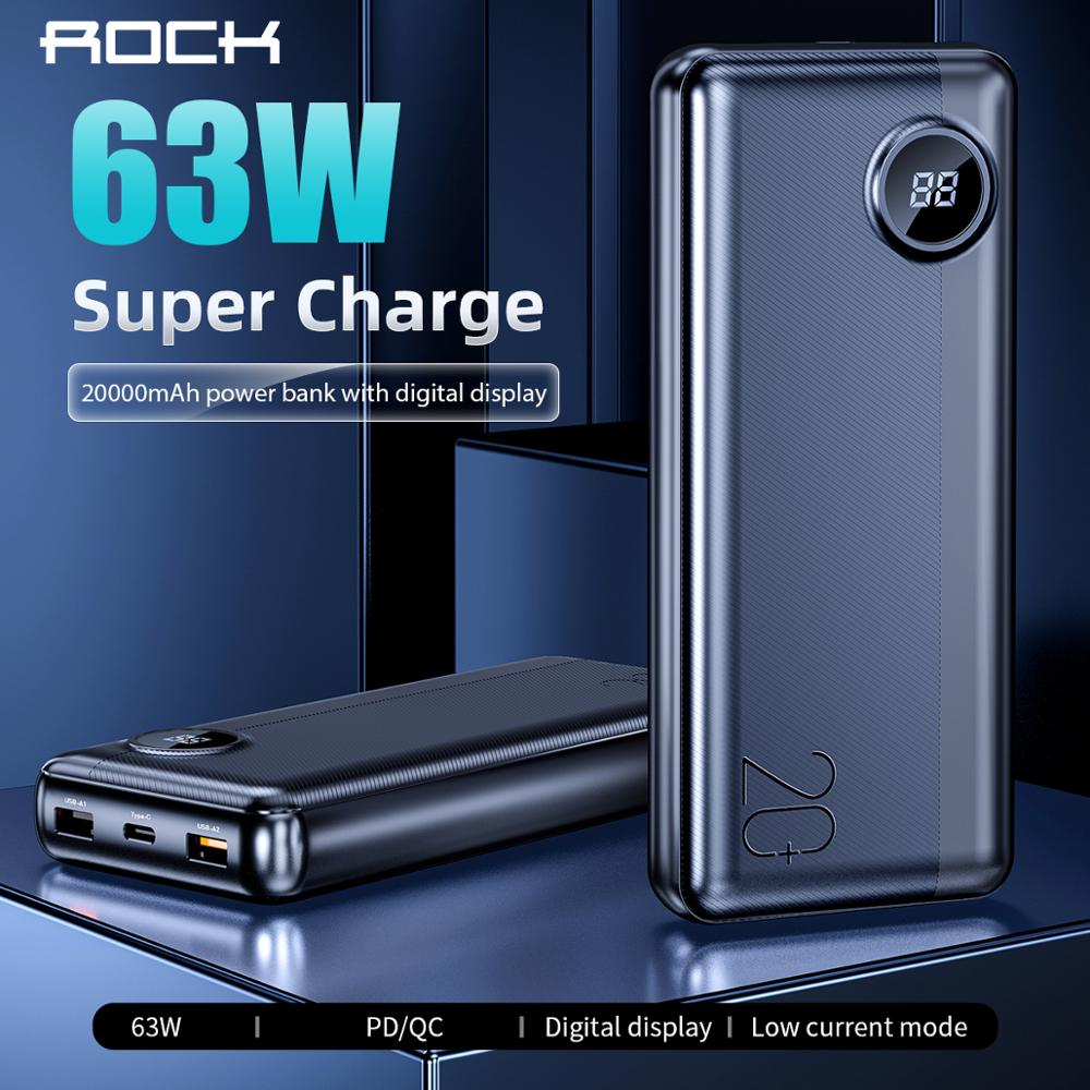 ROCK 20000mAh Power Bank with LED Digital Display 63W PD QC3.0 Fast Charging Powerbank for iPhone Xiaomi Samsung Switch Macbook