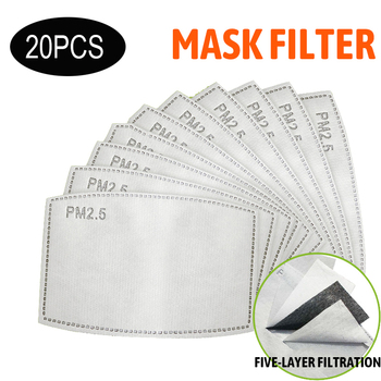 20pcs PM2.5 Anti Haze Mouth Mask Replaceable Filter-slice 5 Layers Non-woven Adult Child Kids Activated Carbon Filter