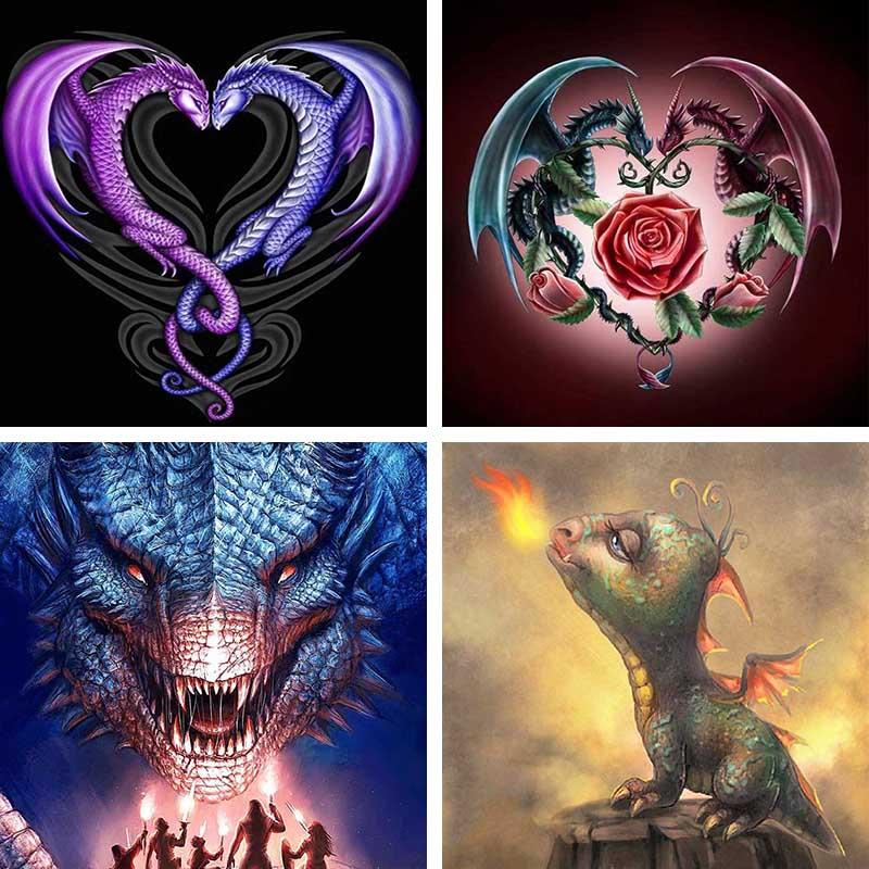 Love Heart Shaped Dragon Diamond Painting Flame Dragon Diamond Embroidery Rose Cross Stitch Mosaic Design Crafts Home Decor L59