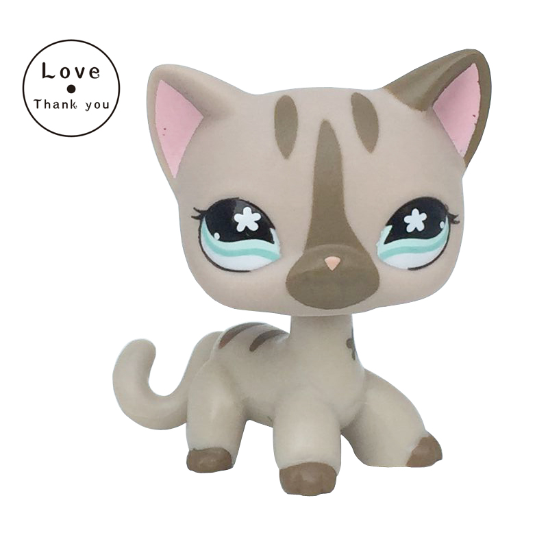 Pet Shop Lps Toys Standing #468 / 792 Grey Gray Striped Short Hair Cat With Blue Old Original Free Shipping