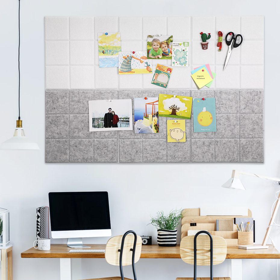 6pcs Nordic Wall Sticker Felt Message Note Board Office File Plan Schedule Bulletin Photo Display Board Home Wall Decoration