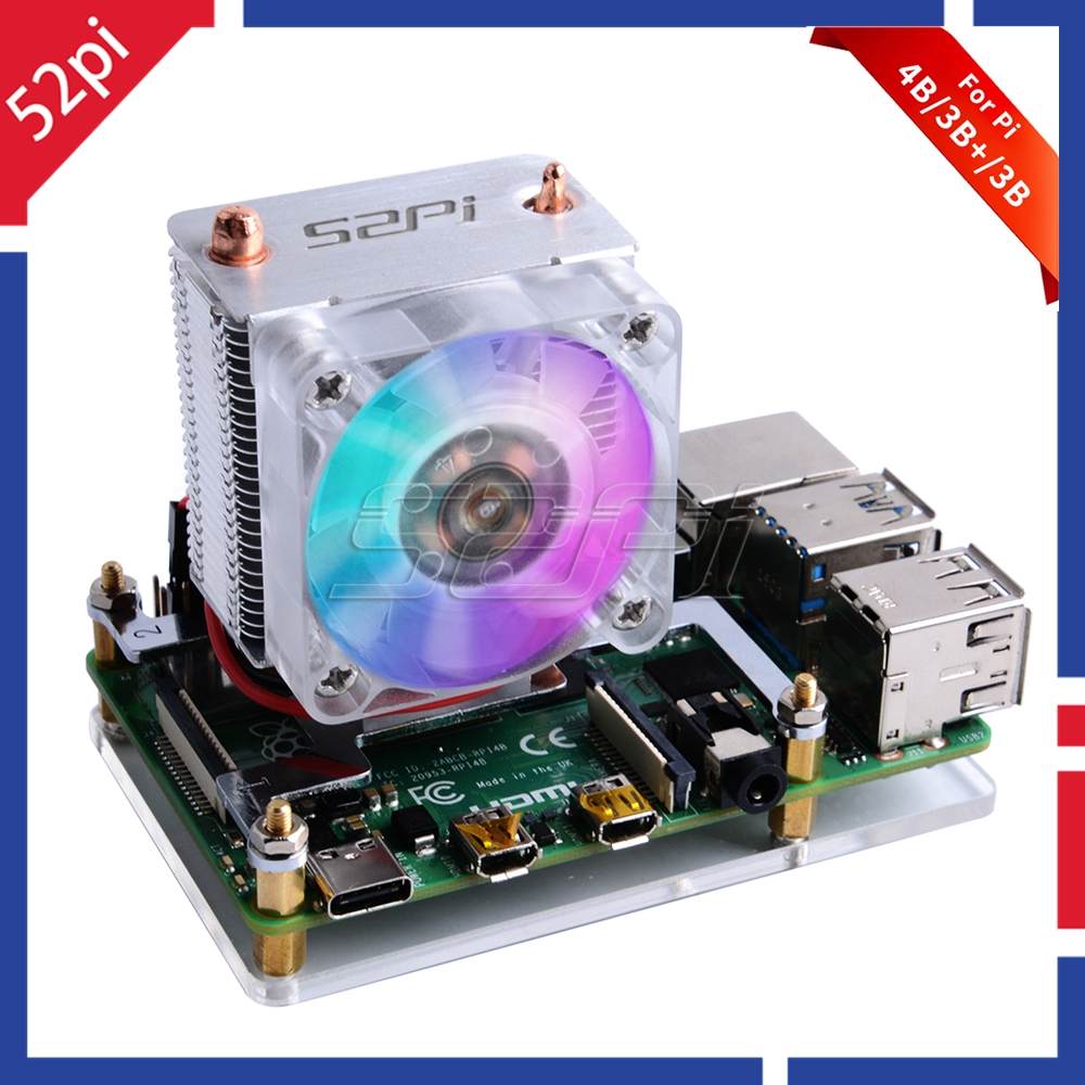 New 52Pi ICE-Tower Cooling Fan V2.0 Black Super Heat Dissipation 7 Colours Light 5-Layer Case For Raspberry Pi 4B / 3B / 3B+