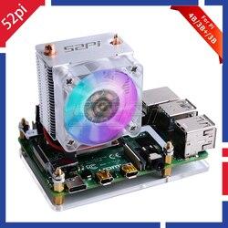 Novo 52pi ice-tower ventilador de refrigeração v2.0 preto super dissipação de calor 7 cores luz 5-camada caso para raspberry pi 4b/3b/3b +