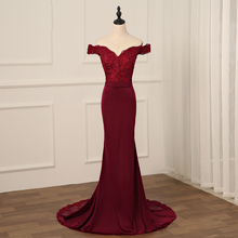 Jiayigong Sexy Burgundy Evening Dress Backless Long Evening Dresses Mermaid Lace Beading Bride Banquet Party Prom Dress