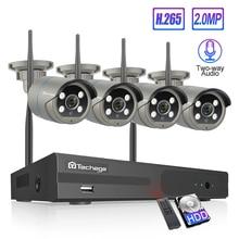 Techage 4CH 1080P Camera Không Dây NVR Hệ Thống 2MP Wifi 4 Array Led Âm Thanh 2 Chiều Âm Thanh Video Ngoài Trời an Ninh Giám Sát Camera Quan Sát Bộ