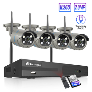 Image 1 - Techage 4CH 1080P Wireless Camera NVR System 2MP Wifi 4 Array LED 2 Way Audio Sound Video Outdoor Security Surveillance CCTV Kit