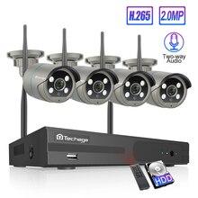 Techage 4CH 1080P kablosuz kamera NVR sistemi 2MP Wifi 4 sıralı led 2 yönlü ses ses Video açık güvenlik gözetim CCTV kiti