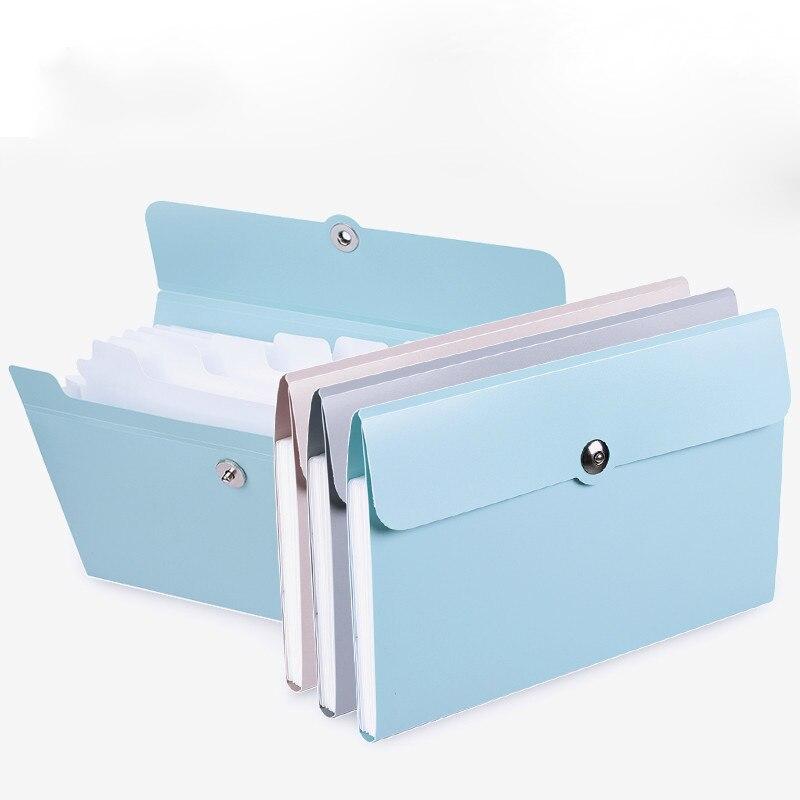 1 pçs pasta de arquivo saco de caixa de órgão multi-função organizador de armazenamento titular documento de escritório a5 suprimentos pasta de papel acabamento
