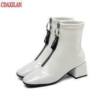 CDAXILAN new women's short boots genuine cow patent leather square heels Mid-heels front zipper ankle boots ladies autumn winter цены онлайн