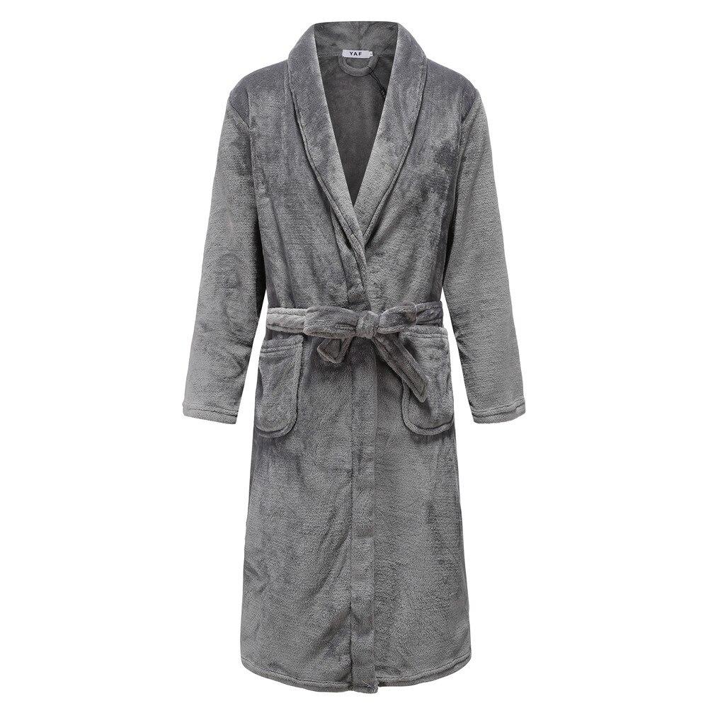 Elegant Solid Knee-length Men Kimono Robe Gown Winter Keep Warm Sleepwear Homewear Casual Soft Lovers Bath Gown Pajama Plus Size
