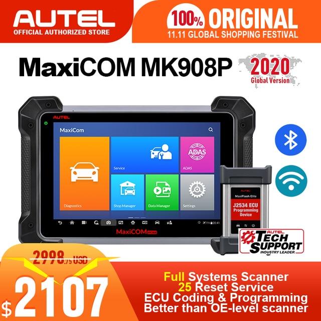 Autel MaxiCOM MK908P MS908P أداة تشخيص أعطال سيارات obd2 الماسح الضوئي جميع نظام ECU البرمجة J2534 مبرمج PK Maxisys Elite