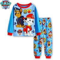 Paw patrol pijamas infantis de duas peças seção fina calças de mangas compridas dos desenhos animados pijamas do serviço de casa das crianças