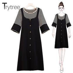 Trytree/осенний женский костюм из двух предметов, вязаный Повседневный пуловер, топы в полоску с круглым вырезом + платье на бретельках, длина