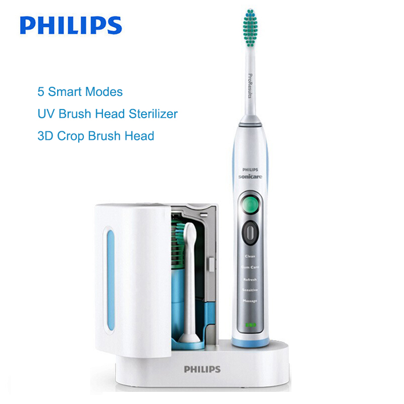 Philips Sonicare HX6972/10 Smartimer and Quadpacer Sonic Electric Toothbrush with Waterproof White&Silver Rechargeable for Adult image