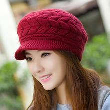 sombrero mujer Hats Fashion Women Winter Fall Solid Color Woolen Yarn Knitted Hat Beret