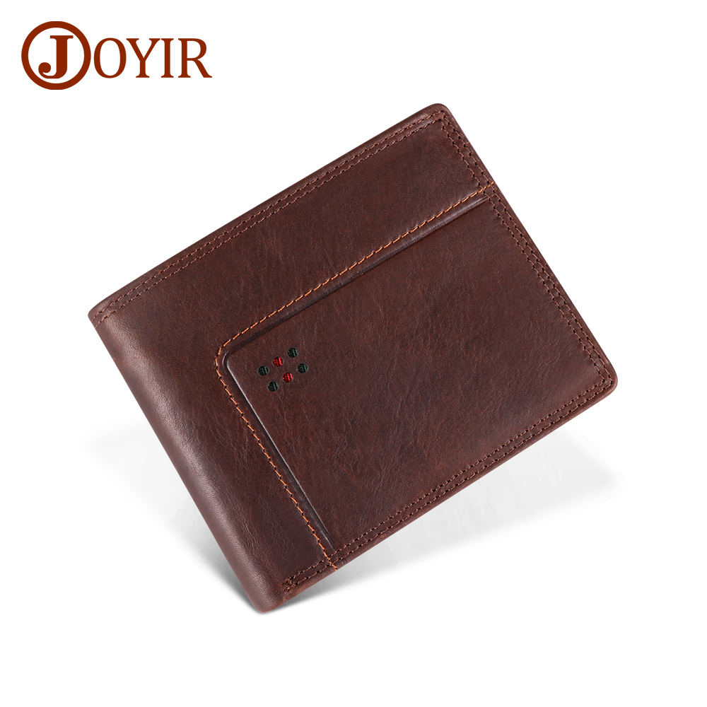 JOYIR Genuine Leather Mens Wallet With Coin Pocket Vintage Male Purse Portomonee Rfid Card Holder Photo Holder Short Wallet