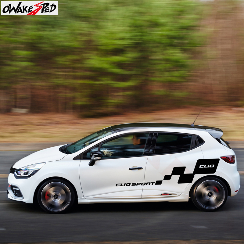 1Set Car Body Stickers Both Side Decor Decals Auto Door Lattice Graphics Sticker Vinyl Decal For Renault Clio 1 2 3 4