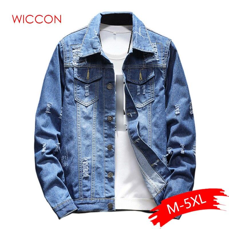 Mens Denim Jacket Trendy Fashion Hip Hop Streetwer Ripped Denim Jacket Mens Jeans Jacket Cowboy Coats Clothing