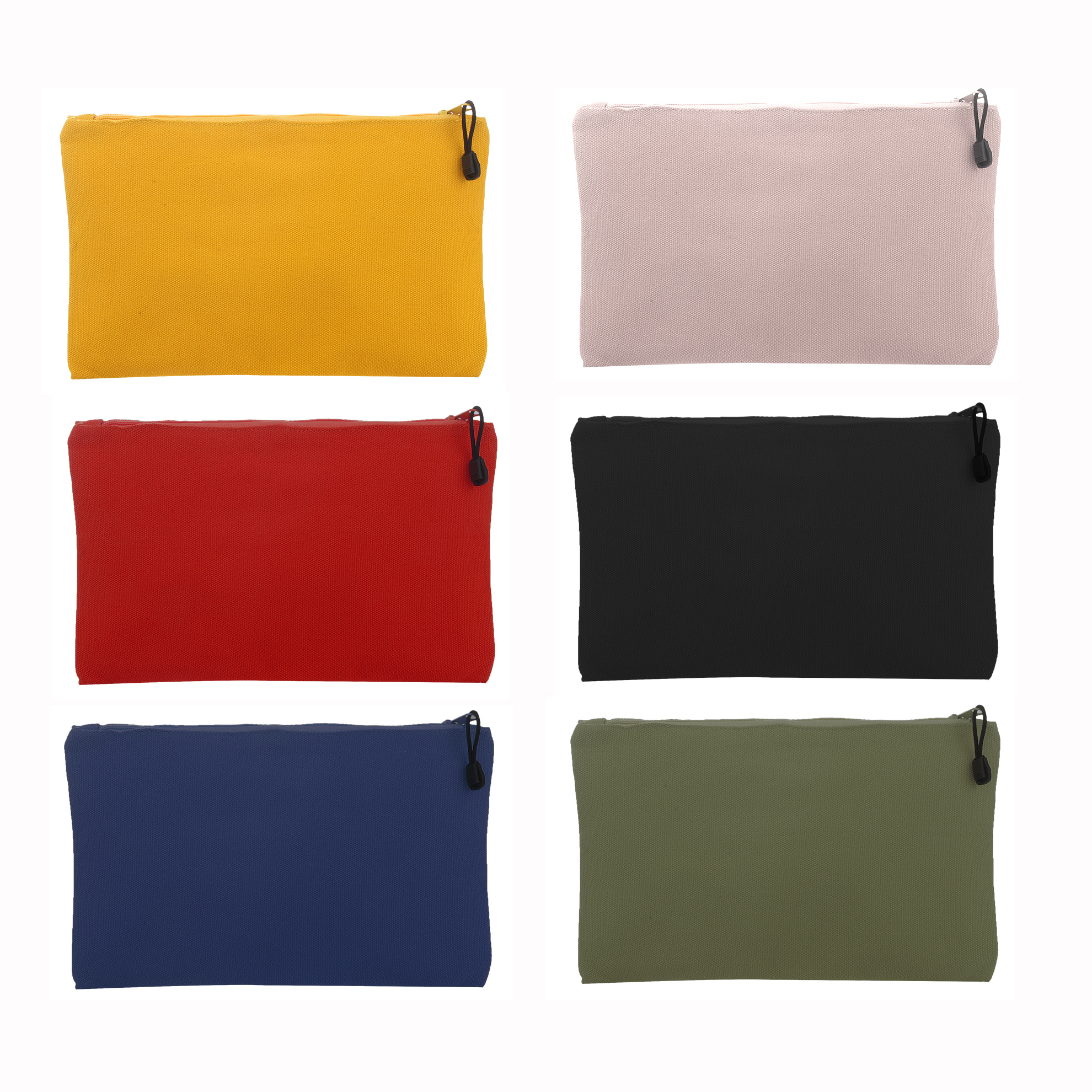 Bright Creations 6 - Pack Canvas Tool Pouch Zipper Bags - Color Cotton Tools Bag 11.5 X 7 Inches