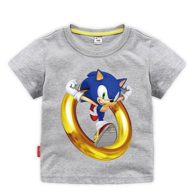Été 2020 à manches courtes T-shirts enfants chemise Costume garçons dessin animé Sonic le hérisson t-shirt enfant en bas âge filles hauts T-shirts décontracté