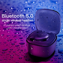 A7 Single Wireless Stereo Bluetooth Earphones with Mic Universal Handsfree Earbuds with Charger Battery Box(China)
