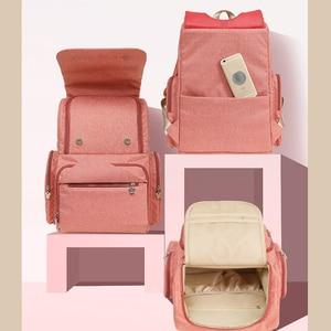Image 5 - Bolsa de pañales de viaje de Minnie rosa de Disney, Bolsa de maternidad para cochecito, impermeable, USB, para biberón, mochila para mamá